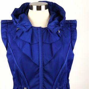 Elie Tahari Ruffled Zip Nylon Vest Hood Blue EUC M